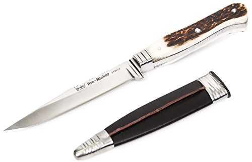 Jagdmesser, Lederhosen-Messer, Hirschfänger-Flachangel, Edelstahlklinge, Rostfrei echtes...