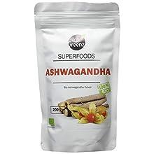 MyGreenz - Bio Ashwagandha Pulver - Indischer Ginseng | Ayurveda | Superfood für Balance zwischen Körper und Geist | Winterkirsche | Schlafbeere | fein gemahlen aus der Wurzel | ohne Zusätze | 200g