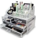 Acrylic Cosmetic Makeup Organizer Jewelry Display Boxes Bathroom Storage Case 2 Pieces Set W/ 4 Large Drawers