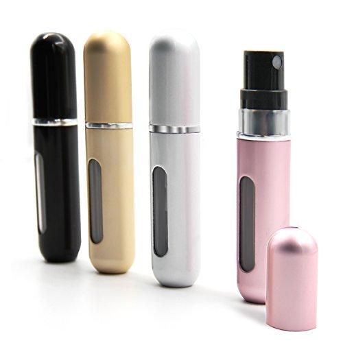 Aodoor AD16080405 leer Aluminium Parfümzerstäuber, Schwarz/Silber/Gold/Rosa, 4er-Pack (4 x 5ml Kapazität)