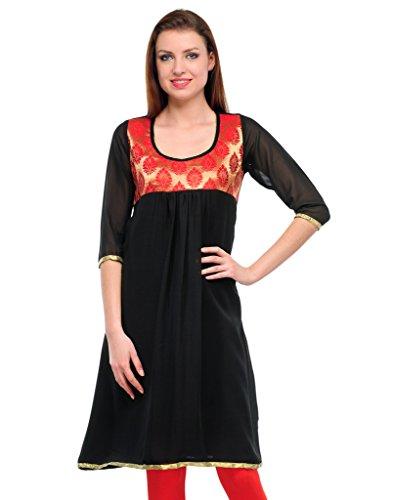 FASHION By The BrandStand Women's Jacquard Kurti (VS_KRT6032_Blk_Red_M, Black, Red, Medium)