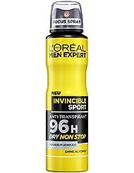 L'Oreal Men Expert Invincible Sport Deo Spray mit 96H langanhaltendem Trockenschutz, ohne Alkohol (6 x 150 ml)
