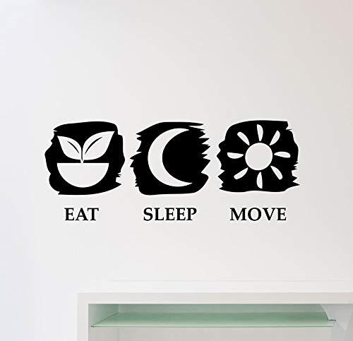 guijiumai Eat Sleep Move Decalcomania da Muro Palestra Fitness Preventivo Vinile Poster Poster Art Camera da Letto Home Decor Carta da Parati autoadesiva Murale Bianco 83x33cm