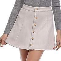 Gusspower Mini Faldas Mujer Elegantes Cintura Alta Llanura Una Línea Falda Corta Verano Fiesta Originales Mujeres Sólido Vintage Botón