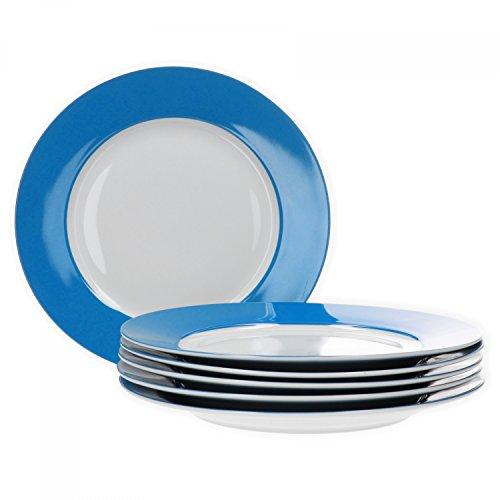 Van Well 6er Set Speiseteller Essteller flach Serie Vario Porzellan - Farbe wählbar, Farbe:blau