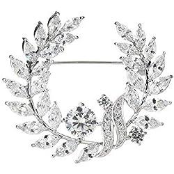 Circlefly Elegante broche de rama de olivo con incrustaciones de circonitas micro-incrustantes Vestido de novia de mujer Abrigo suéter 100 accesorios a juego
