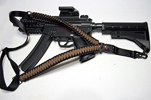 Acido Tactical® 550Paracord corda da paracadute per fucile con bussola e pietra focaia 127cm Airsoft Paintball-(Dark Earth) - Paintball Gun Slings