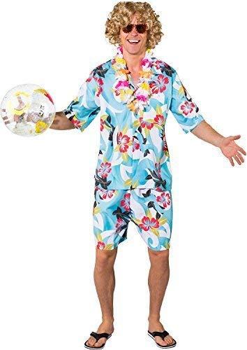 Jungen Für Hawaiian Kostüm - Fancy Me Herren Kräftig Hawaiian Strand Junge Lustig Komödie Peinlich Junggesellenabschied Abend Party Benidorm Im Ausland Tv Film Kostüm Kleid Outfit - Blau, X-Large (EU 54/56)