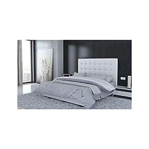Tête de lit capitonnée 140 cm simil cuir Blanc