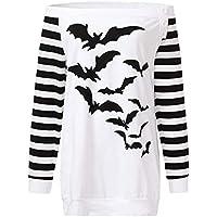 Luckycat Las Mujeres más tamaño murciélagos fríos del Hombro Imprimen la Sudadera con Capucha del botón de Halloween Superior