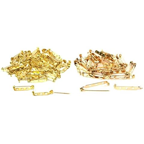 Gold Plated Bar Pin Backs Jewelry 27mm x 5mm & 38mm x 5mm Findings Kit 100 Pcs by FindingKing