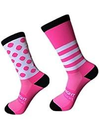 Sky Knight Sports Calcetines de ciclismo para exteriores Pies izquierdo y derecho Punto de ola Rayas