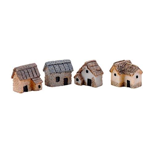 WINOMO 4 STÜCKE Mini Haus Deko Miniatur Garten Landschaft DIY Blumentopf Bonsai Handwerk Dekor