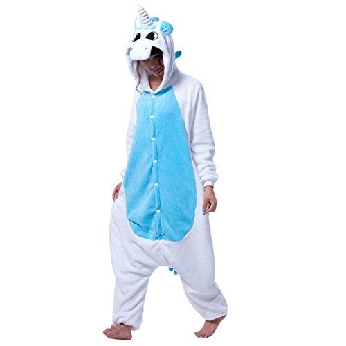 Wenyujh Damen Herren Tier Schlafanzug Jumpsuit Cartoon Einhorn Korallen Pyjamas Fasching Halloween Kostüm Overall Unisex für (Kostüme Partner)