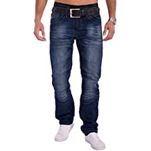 Jaylvis Herren Jeans (Regular Fit) Dunkelblaue Jeanshose mit Knitter Falten (Crinkle) Blue Jeans Stretch Used Denim mit geradem Bein (Straight Leg), Stone Washed H1545