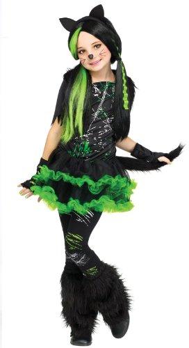 Cool Cat Mädchen Fasching Halloween Katze Cyber Goth Kitty Kinder Kinder- Kostüm Alter 4-6