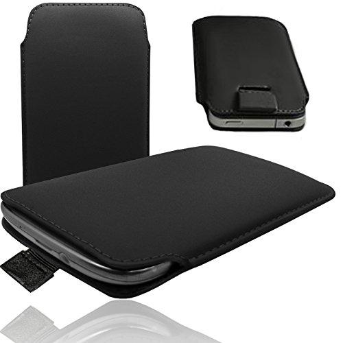1A SCHWARZ Slim Cover Case Schutz Hülle Pull UP Etui Smartphone Tasche für M-Horse Pure 1