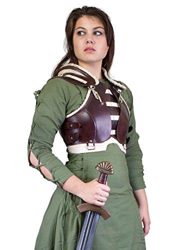 uenrüstung Rogue LARP-Lederrüstung Einheitsgröße Schaukampf Damen Brustpanzer Wikinger (Schwarz/Braun) (Polizei Halloween-sicherheit)