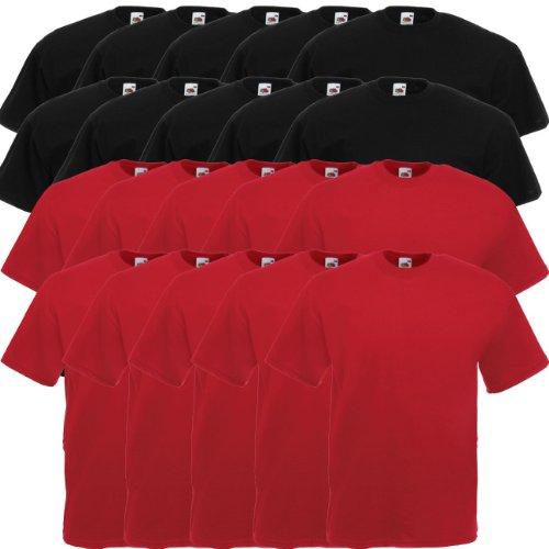 Fruit of the Loom Original Valueweight T Rundhals T-Shirt F140 5er 10er 15er 20er Pack 10 black 10x brick