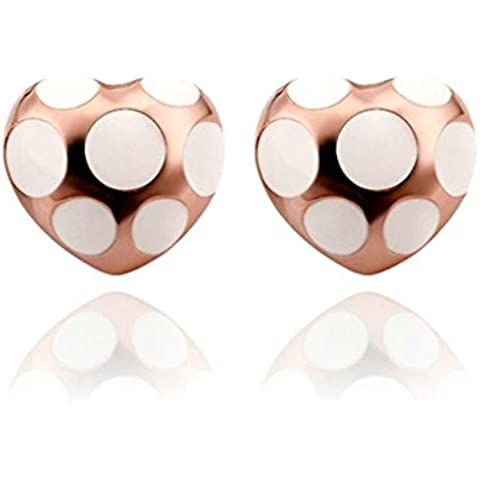 Gnzoe Gioielli 18K Oro Rosa Placcato Stud Orecchini Donna Spot Cuore Bianco Oil Drip Eco Amichevole