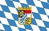 Top Qualität - Flagge BAYERN WAPPEN Bavaria Fahne, 90 x 150 cm, EXTREM REIßFEST, Keine BILLIG-CHINAWARE, Stoffgewicht ca. 100 g/m², sehr robust, extra starke Messing-Ösen - mehrfach umlaufend genäht, ideal als Hissflagge Hissfahne für Innen/Außen, für Haus, Garten zur Deko