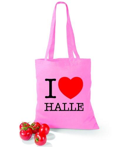 Artdiktat Baumwolltasche I love Halle Classic Pink