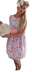 1950s Style Pink Baking Print Ladies Dress - Silly Old Sea Dog - - Size 8