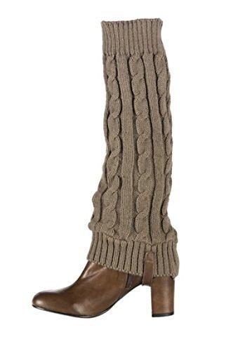 Toller Stiefel mit mit abnehmbaren Strickaufsatz aus Leder - Farbe Braun Braun