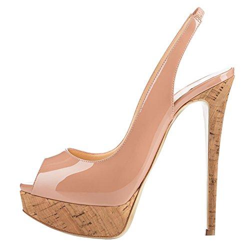 MERUMOTE Damen Slingbacks Peep Toe High Heels Schuhe Plateau Pumps Holz & Nude 38EU