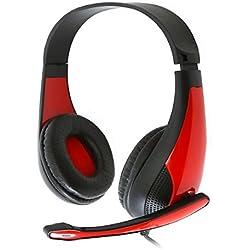 Omega Casque Audio de Marque Freestyle + Microphone intégré pour PC - Rouge