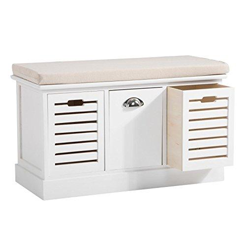 Schublade Bank (Sitzbank TRIENT Garderobenbank Sitztruhe in weiß mit Sitzkissen und 3 Schubkästen, Vintage Shabby Look Landhaus)