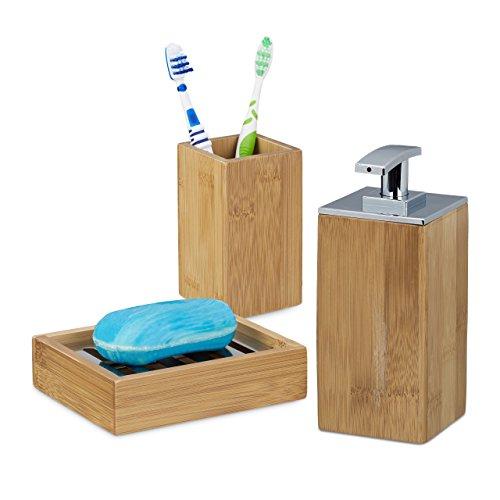 3 teiliges Badgarnitur Set, aus Bambus, Seifenspender nachfüllbar, Seifenschale Seifenablage, Zahnputzbecher eckig, natur