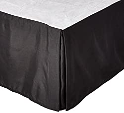 Clara Clark Premier 1800 Collection Solid Bed Skirt Dust Ruffle, King Size, Black