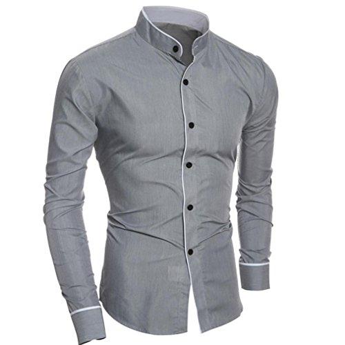 Herren Vintage Hippie Hemd (ZIYOU Slim Fit Herren Hemd, Bügelleicht Für Business Freizeit Hochzeit (M, Grau))