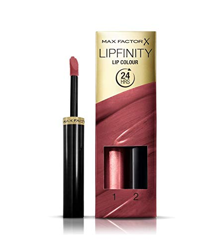 Max Factor Lipfinity Lip Colour Frivolous 108 - Kussechter Lippenstift mit 24h Halt ohne auszutrocknen, mit intensiver Farbabgabe, präzisem Applikator & intensiv pflegendem Gloss-Top Coat