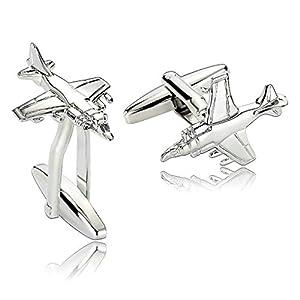 ANAZOZ Schmuck Edelstahl Herren Manschettenknöpfe Jet Kampfflugzeug Silber, Manschetten Knöpfe für Männer