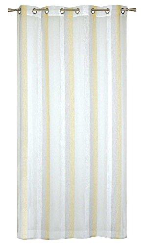 Homemaison–tenda in organza a righe jacquard, poliestere, giallo, 240x 140cm