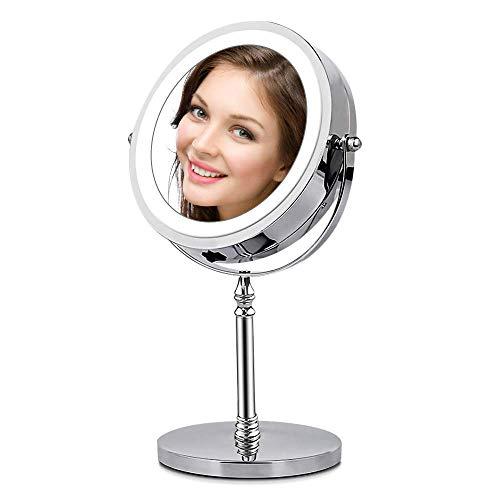 AMZTOLIFE 1x & 10x Miroir grossissant Lumineux - Miroir cosmétique portatif Argent 360 ° réglable