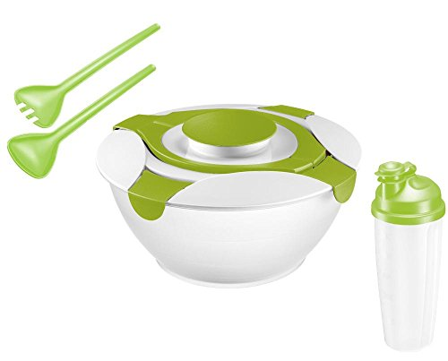 Westmark 4 tlg. Salat-Set: 1x Salatschüssel mit Deckel, 1x Dressingbecher bzw. Dessingshaker, 1x 2-tlg. Salatbesteck
