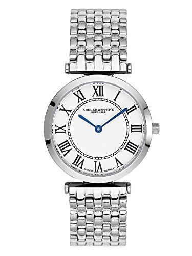 Abeler & Söhne fabricado en Alemania–Reloj de pulsera para mujer con correa de acero inoxidable y cristal de zafiro as3204