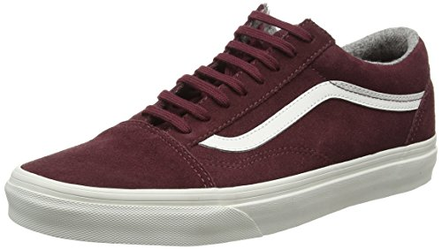 Vans Old Skool Scarpe da skater, Basse, Unisex, Adulto Rosso (Varsity Suede red mahogany/blanc de blanc)