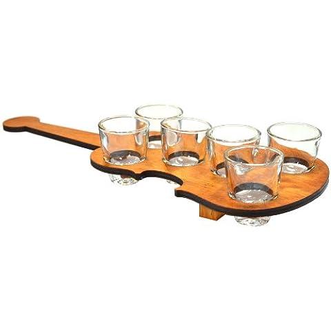 Decoración Para El Hogar Bandeja De Madera En Forma De Violín Y Un Conjunto De 6 Vidrios De Tiro