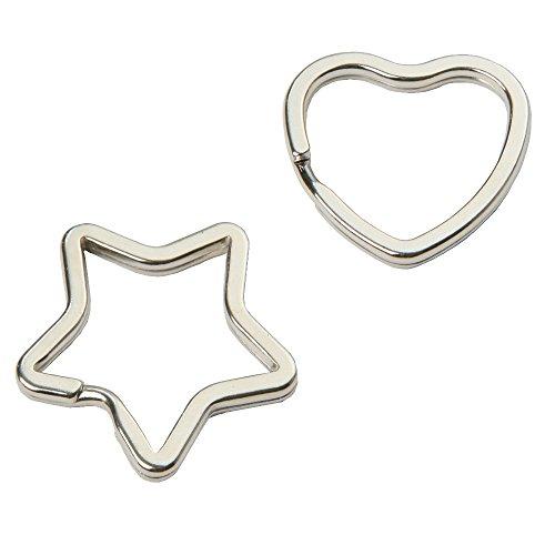 Schlüsselringe in Stern- und Herzform - 20 Stück gemischt, glanzvernickelt und gehärtet, silberfarben