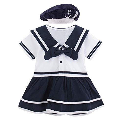 Mombebe Baby Mädchen Kleid Matrose Body Kleider (Matrose 4, 0-6 Monate)