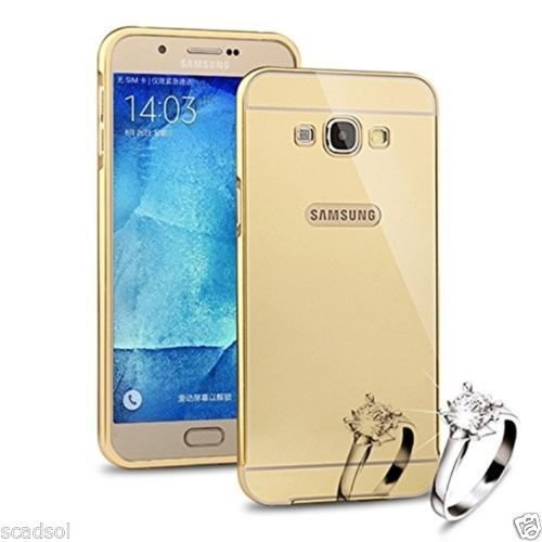 SCHOFIC Premium Fancy Luxury Mirror Effect Acrylic [Back Panel] with Metal [Aluminium] Bumper Back Case Cover [Pouch] for Samsung GALAXY Grand 2 G7106/7102 -Gold  available at amazon for Rs.199
