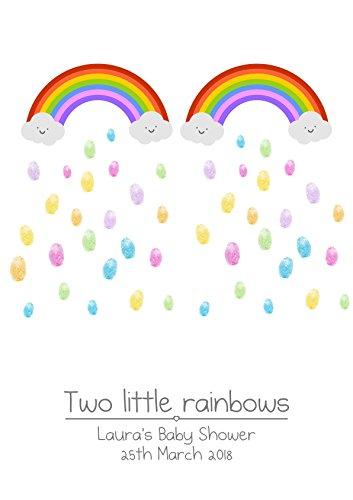 A4 Medium Baby Shower/Geburtstag / Taufe personalisierbar Zwillinge Regenbogen Fingerprint Baum