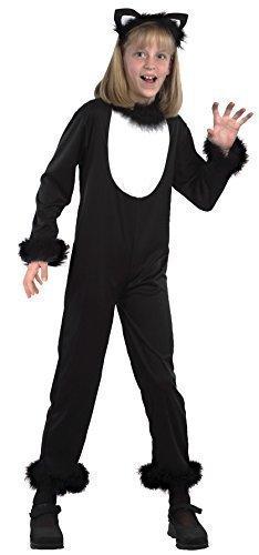 Mädchen Jungen Kinder Schwarze Katze Catsuit Animal Halloween Kostüm Kleid Outfit 2-14 jahre - Schwarz, Schwarz, 10-12 (Zubehör Schwarze Katze Halloween Kostüm)