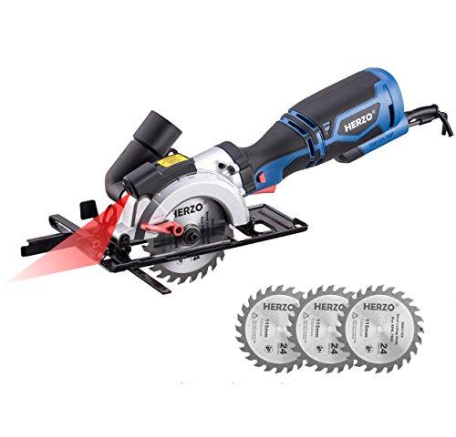 HERZO Kreissäge mit Laser, Mini Handkreissäge 710W 3500 rpm mit 3 Sägeblättern Holz Schneiden