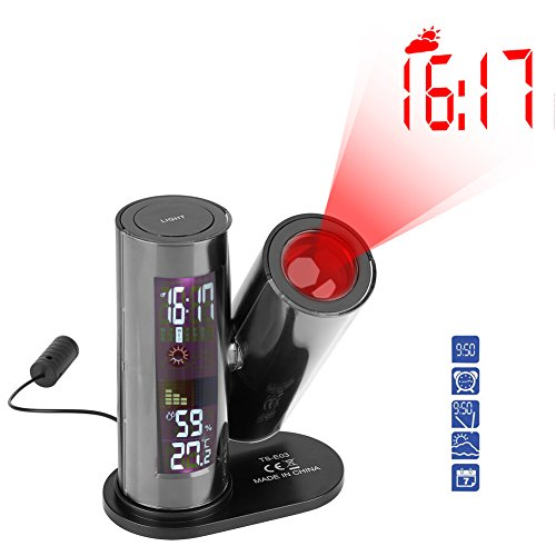 Projektionswecker Radiowecker LED Beleuchtung mit verstellbarer Projektionsrichtung Innentemperatur Wettervorhersage von Wetterstation Luftfeuchtigkeit Decken und Wandprojektion Anzeigen Uhr mit Schlu