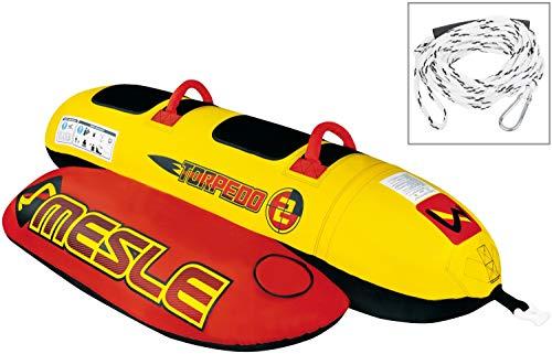 MESLE Skibob Set Torpedo, incl. Zugleine, 2 Personen Fun-Tube, Towable-Tube, rot gelb, incl. Reparaturset, aufblasbar, Bananen-Boot für Kinder & Erwachsene, Speed-Wassergleiter, 840 D Nylon -